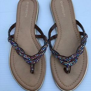 Pia Rossini Multi Coloured Rhinestone Sandals